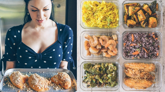 Laura Prepon pictured holding a pan of uncooked meat on the left half of the image. On the right half of the image is an aerial shot of six containers, each holding different types of prepared food.