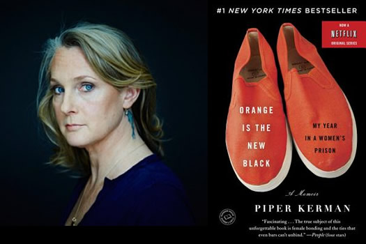 Piper Kerman is pictured beside the cover of her memoir, Orange Is the New Black: My Year in a Women's Prison. The cover of the memoir pictures two plain Orange canvas shoes.