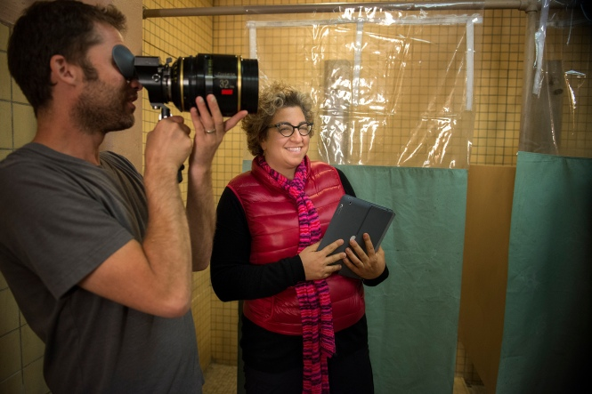 Jenji Kohan on the set of Orange Is the New Black.