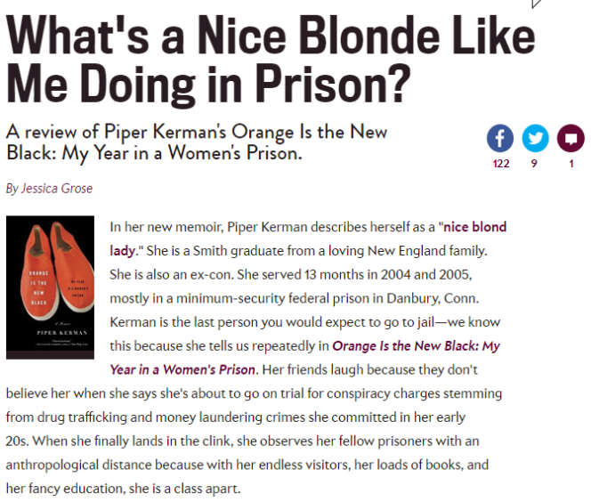 orange is the new black essay Orange is the new black is the latest in a long line of criminal justice-themed tv shows but its penitentiary setting allows it to broach issues about the criminal.