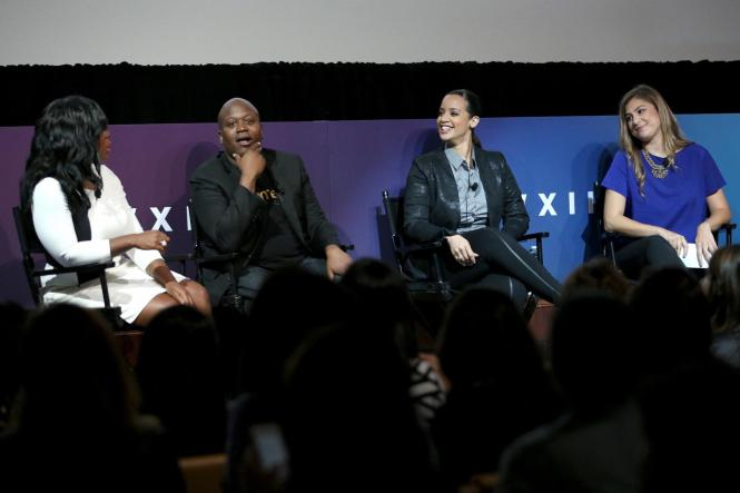 speaks onstage at the XX panel during Advertising Week 2015 AWXII at the Hard Rock Cafe New York on September 29, 2015 in New York City.