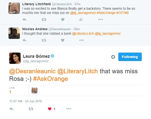 Laura Gomez (Blanca Flores) responds to an #AskOrange 2016 question