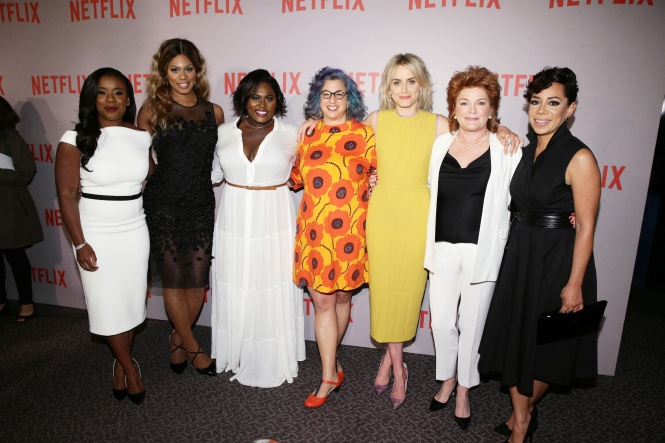 "Uzo Aduba, Laverne Cox, Danielle Brooks, Show Creator Jenji Kohan, Taylor Schilling, Kate Mulgrew and Selenis Leyva seen at Netflix ""Orange is the New Black"" Television Academy Screening at the DirectorÕs Guild of America on Wednesday, May 20, 2015, in Hollywood, CA. (Photo by Eric Charbonneau/Invision for Netflix/AP Images)"