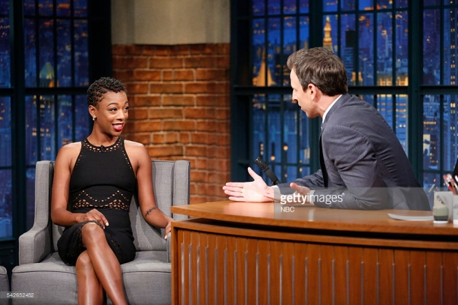 LATE NIGHT WITH SETH MEYERS -- Episode 389 -- Pictured: (l-r) Actress Samira Wiley during an interview with host Seth Meyers on June 23, 2016 -- (Photo by: Lloyd Bishop/NBC/NBCU Photo Bank)